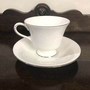 Wedgwood Cup and Saucer, Silver Ermine